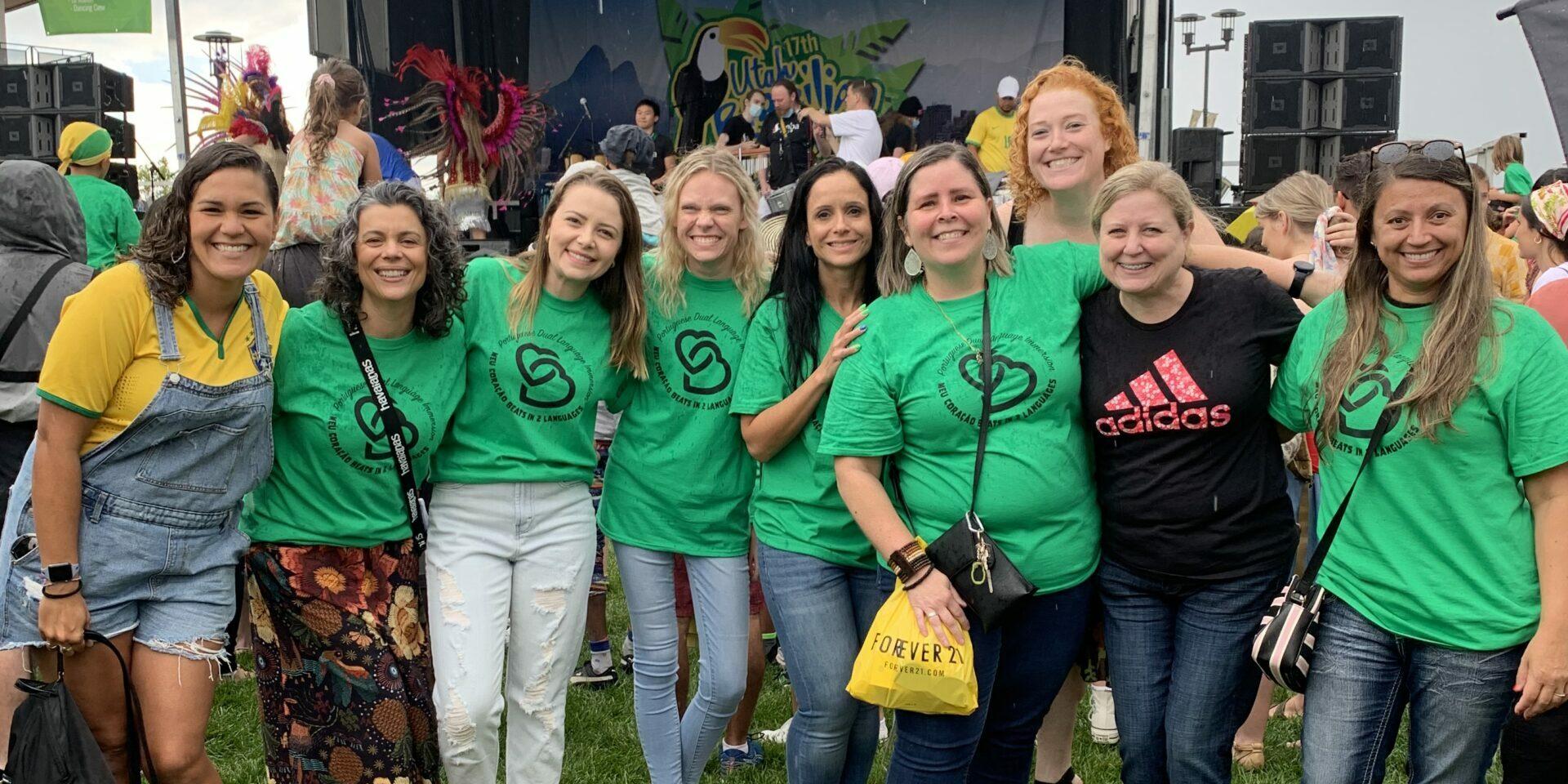 Teachers wearing green shirts.